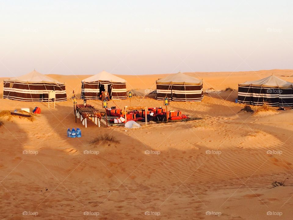 The Arabian desert. Camping somewhere in the Al-Sharqiyah Sands