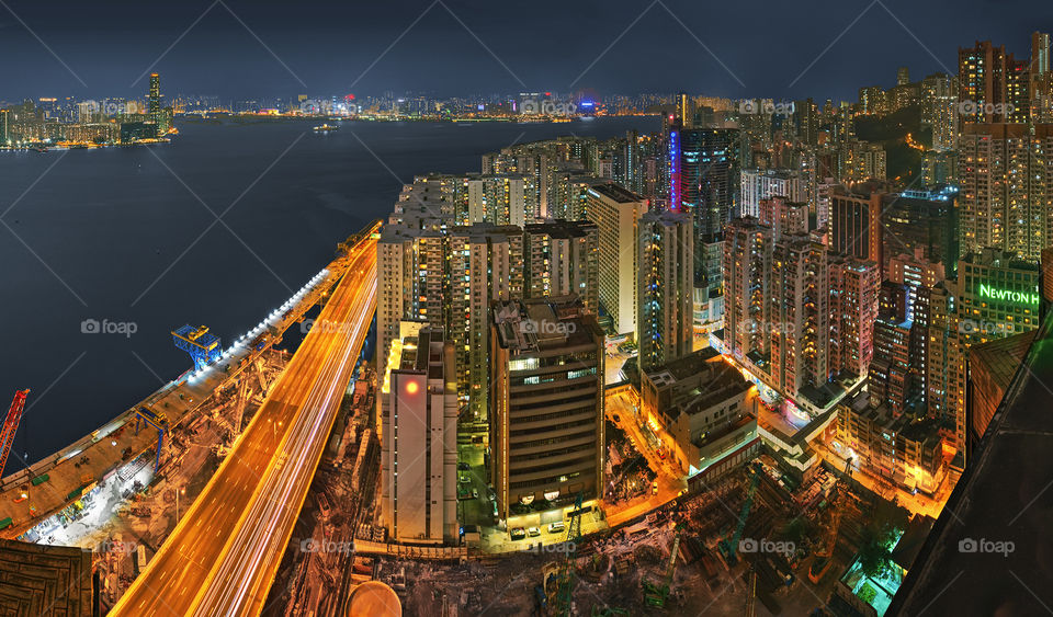 Fortress hill. Hong Kong's Fortress Hill and North Point with a bit of Hung Hom showing over the harbour.