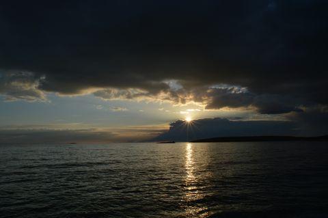 Sunset at sea coast