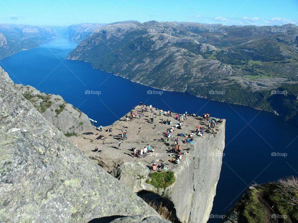 Cliff Preikestolen at fjord Lysefjord in Norway