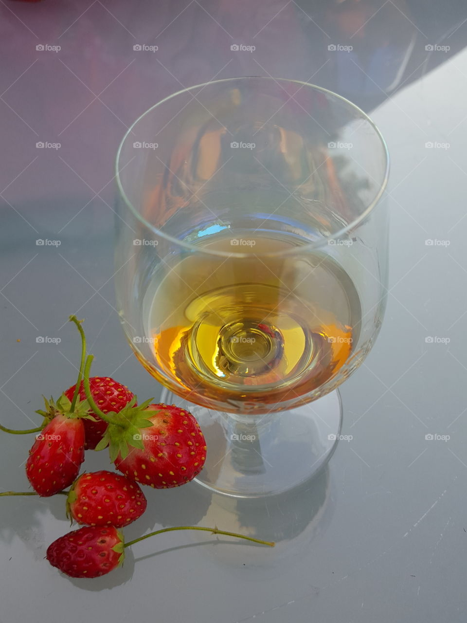 liqueur and strawberries