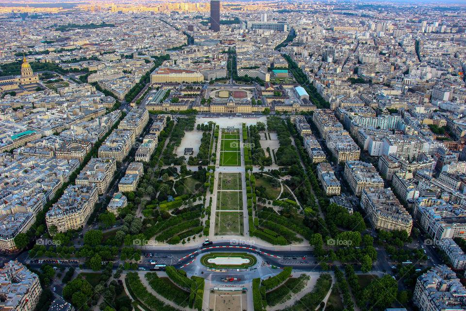 Aerial view of paris city