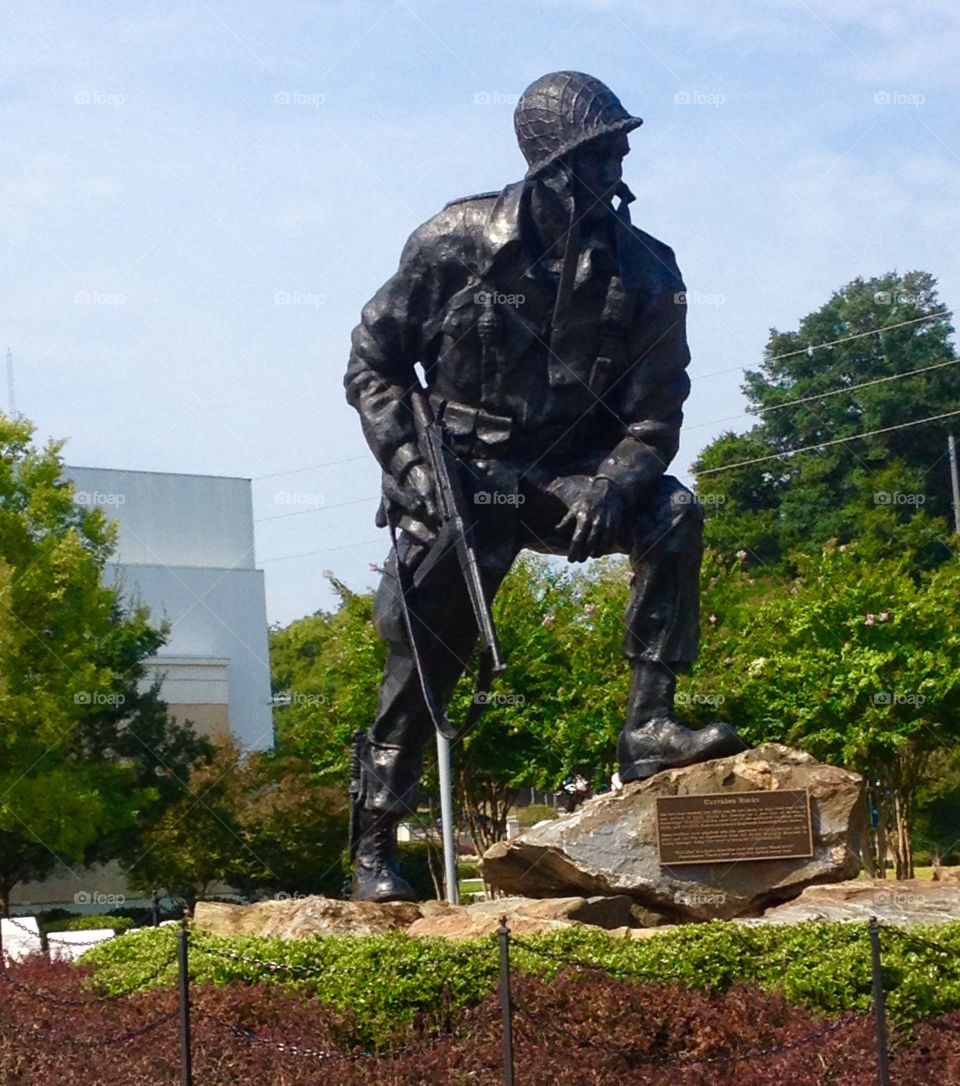 Big Mike statue in  NC.. Iron Mike statue on Fayetteville, NC at the Airborne & Special Operations Museum.  Near Fort Bragg.