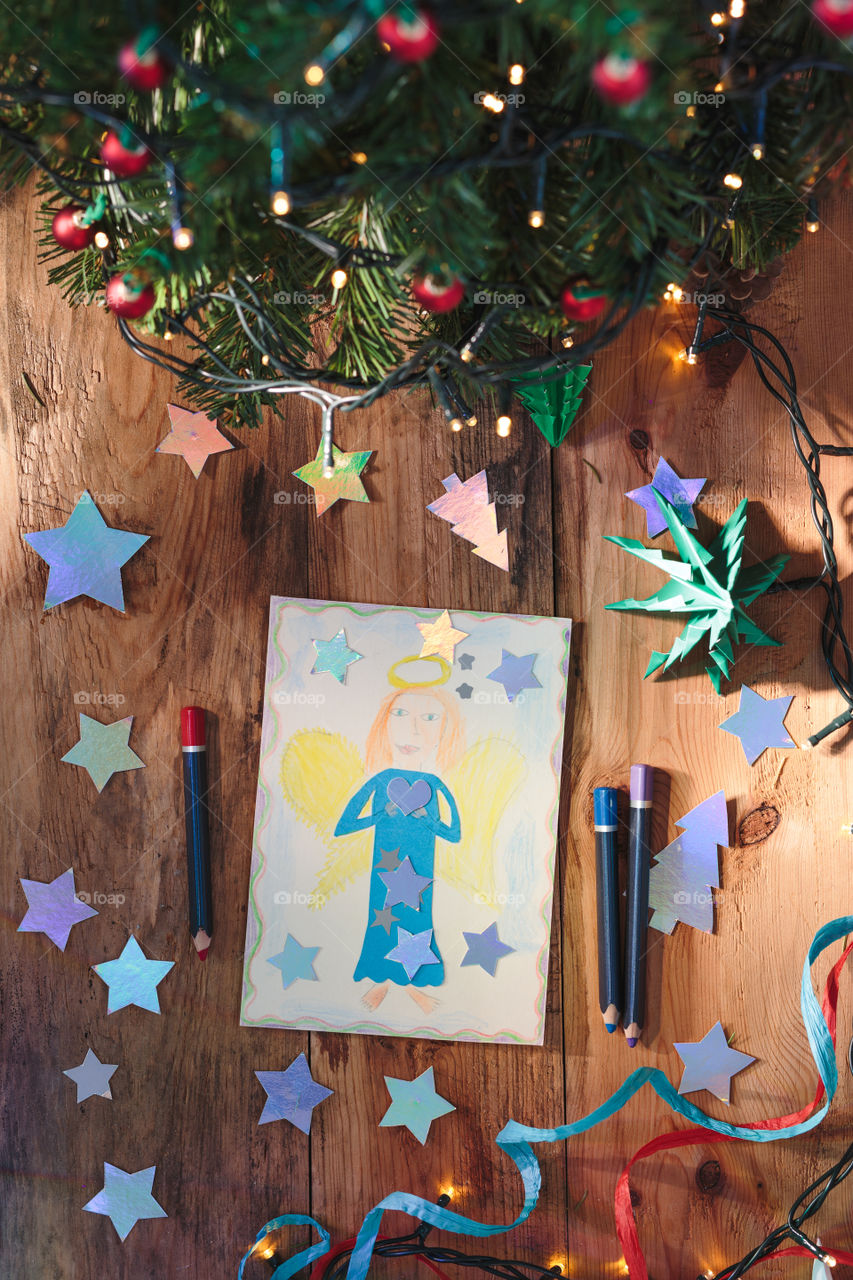 Hand drawn Christmas card and decorations