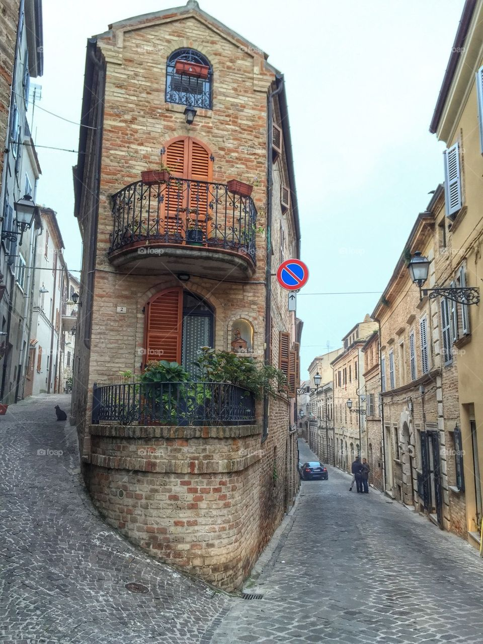 View over two streets, Ripatransone,Italy