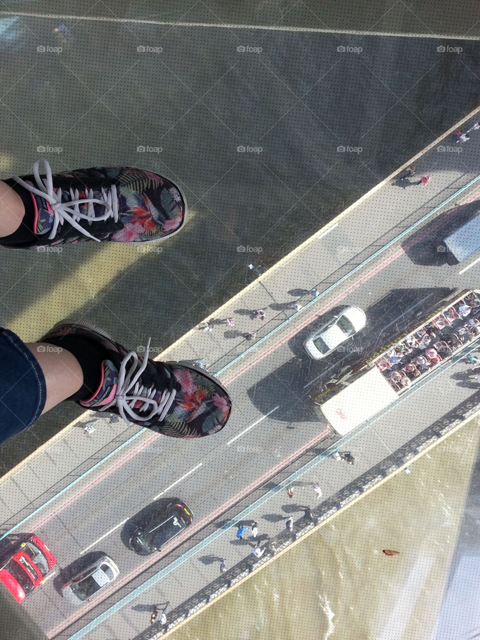 View from the glass floor at Tower Bridge. You can even stand here when the bridge opens. That would have been really scary.