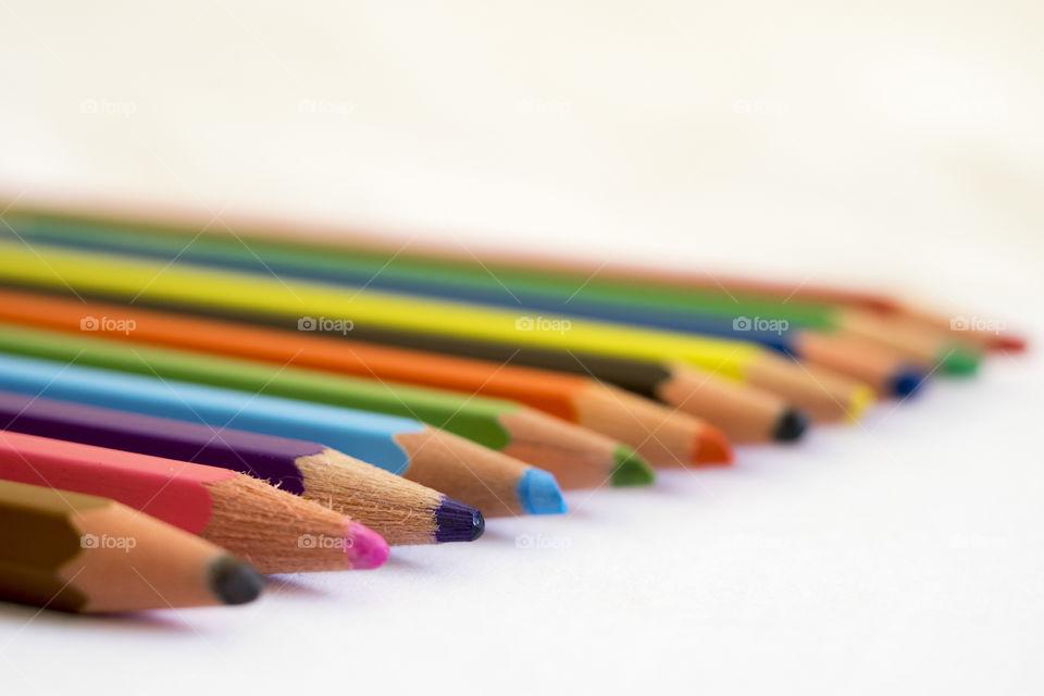 Close-up of coloured pencils