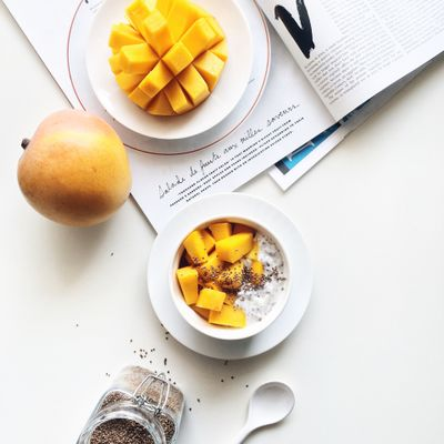Healthy breakfast with R2E2 mango, yogurt, ground chai seed and perilla seed.