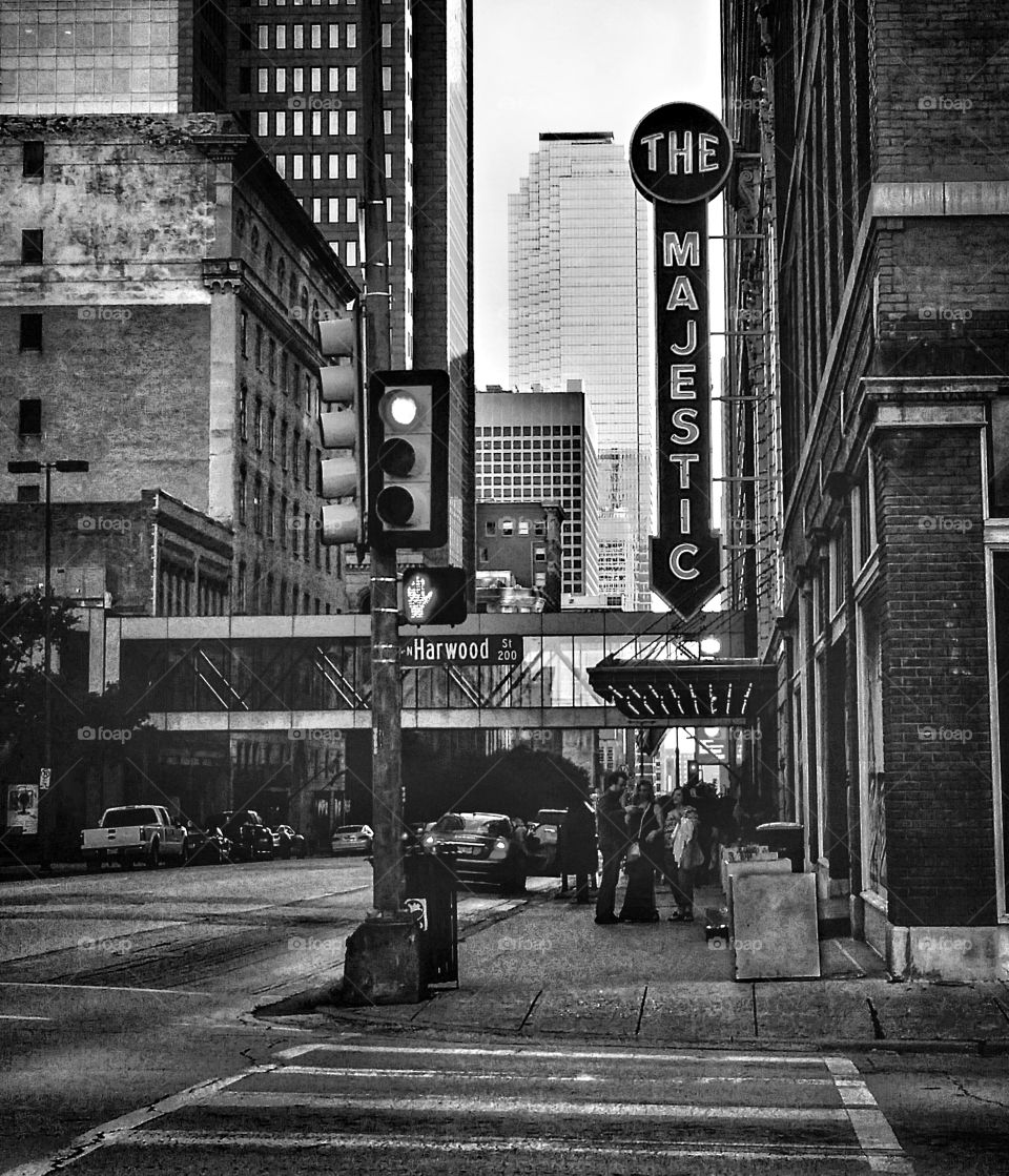 The Majestic Theater downtown Dallas Texas USA on Harwood Street in black and white