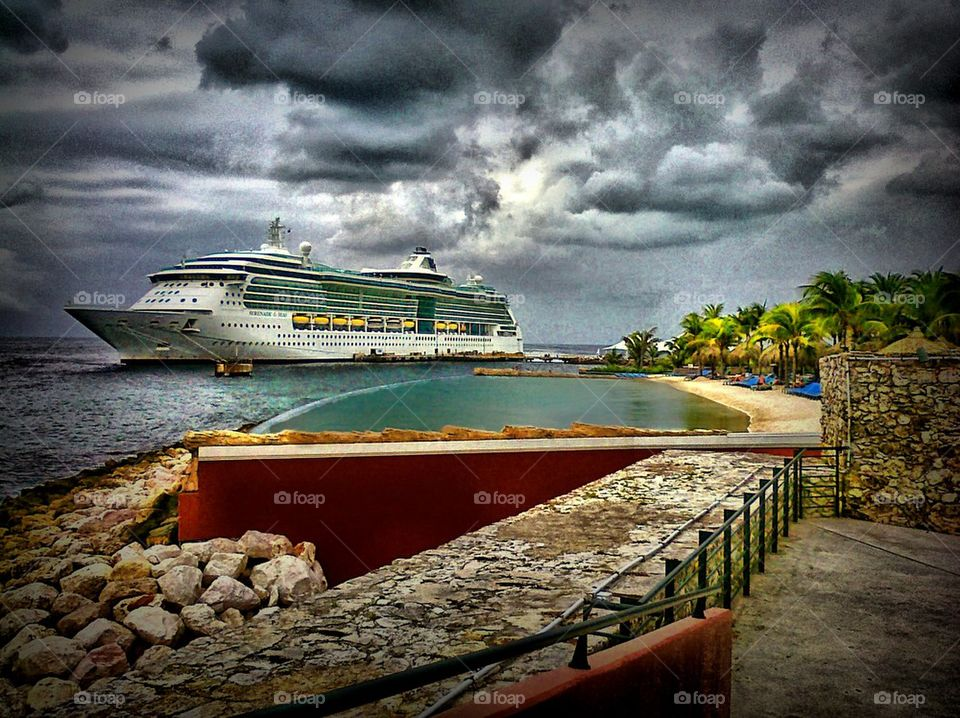 view of whole ship. docked in Curacao