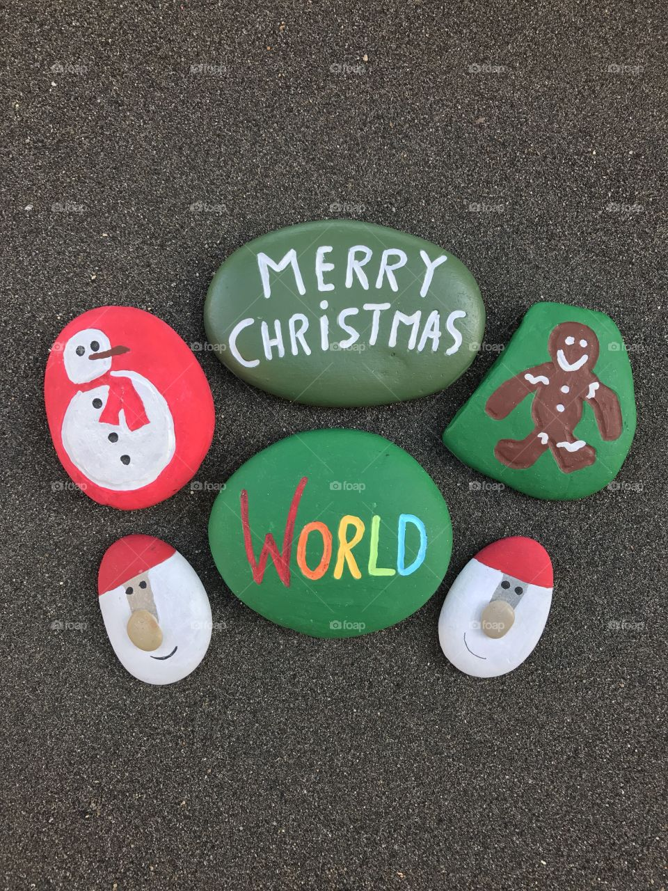 Merry Christmas World with stone design