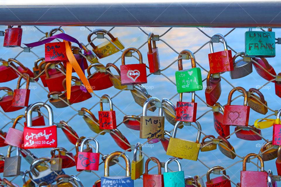 Colorful padlocks as symbols of love.