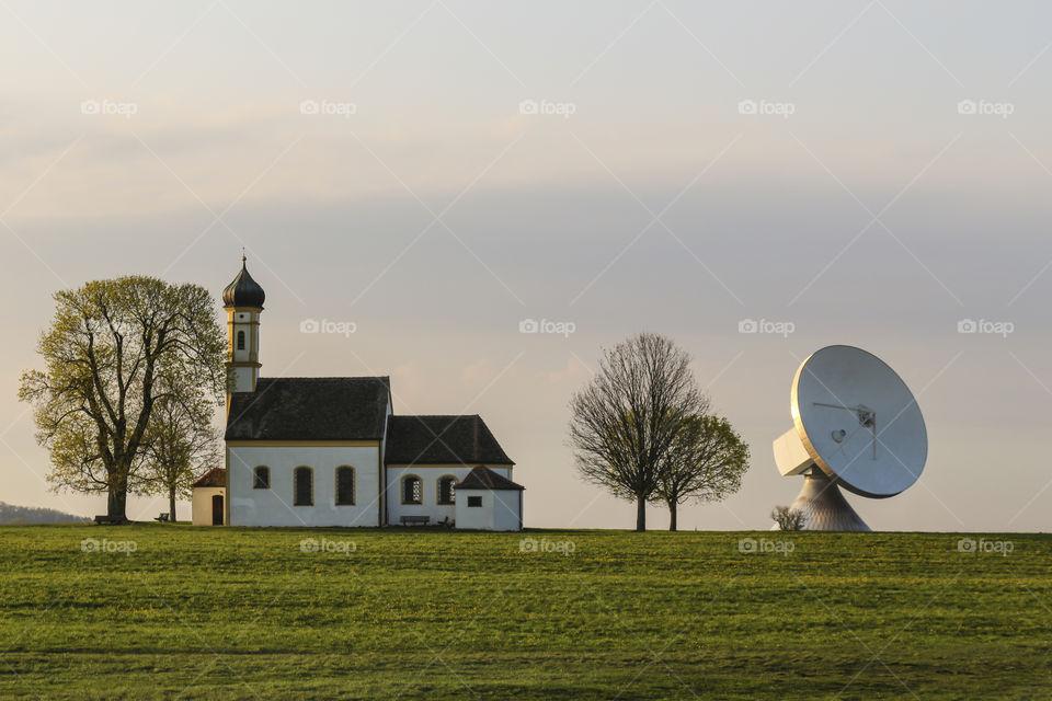 Satellite Dish and Church
