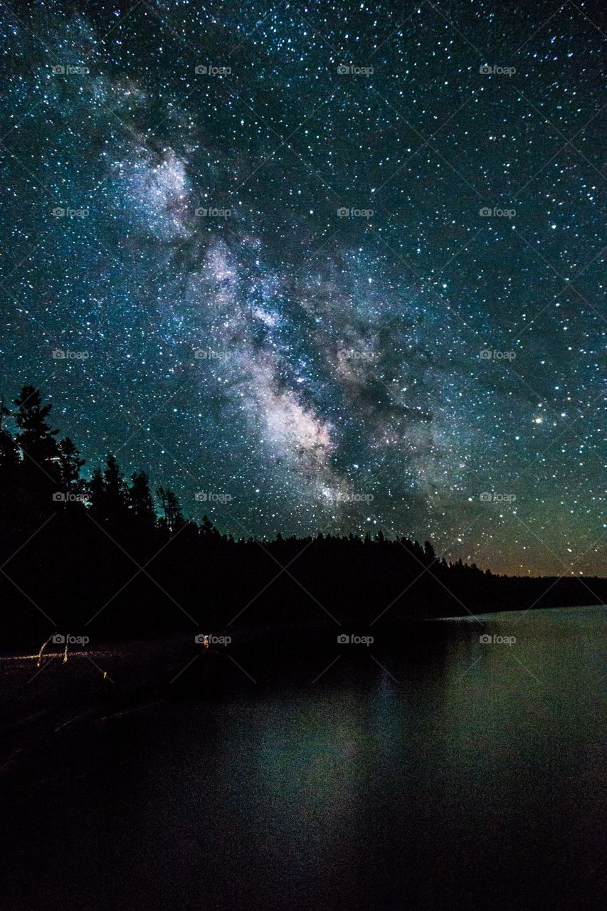 View of lake in milky way
