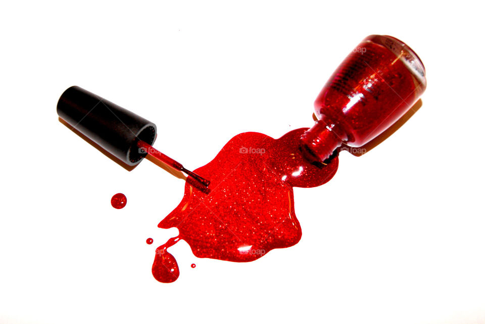 Spilled red nail-polish