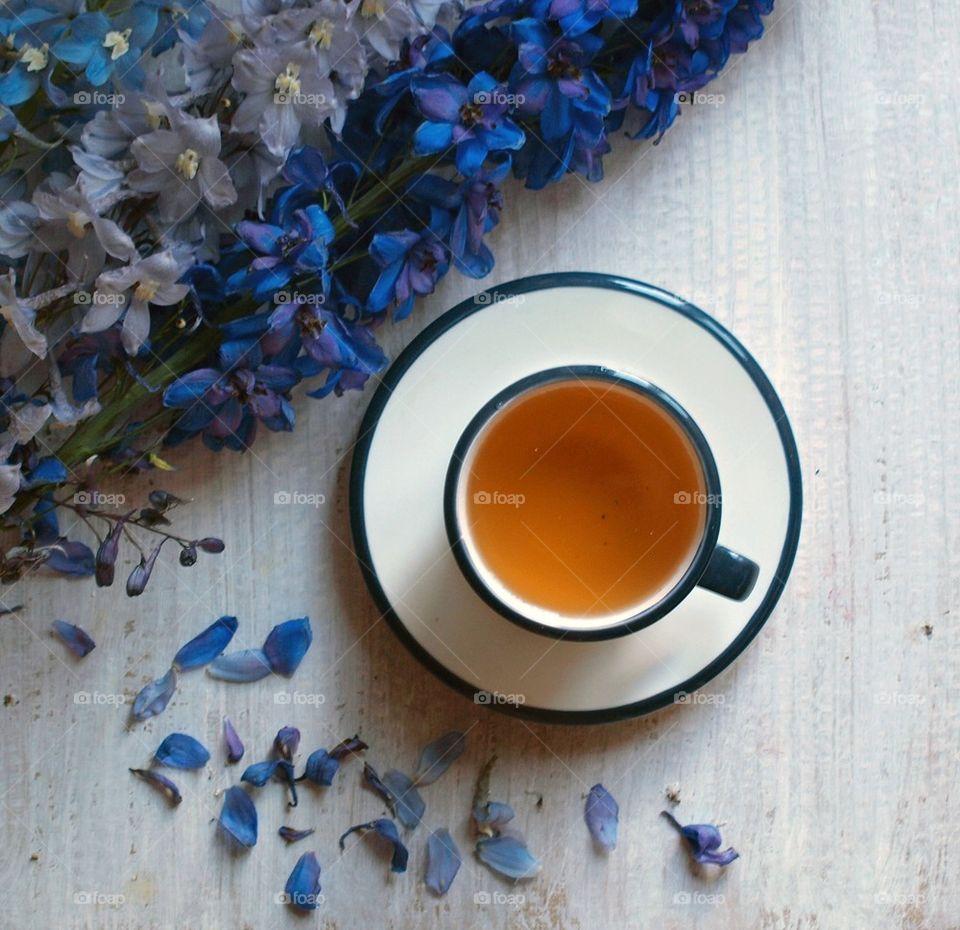 Flowers near tea