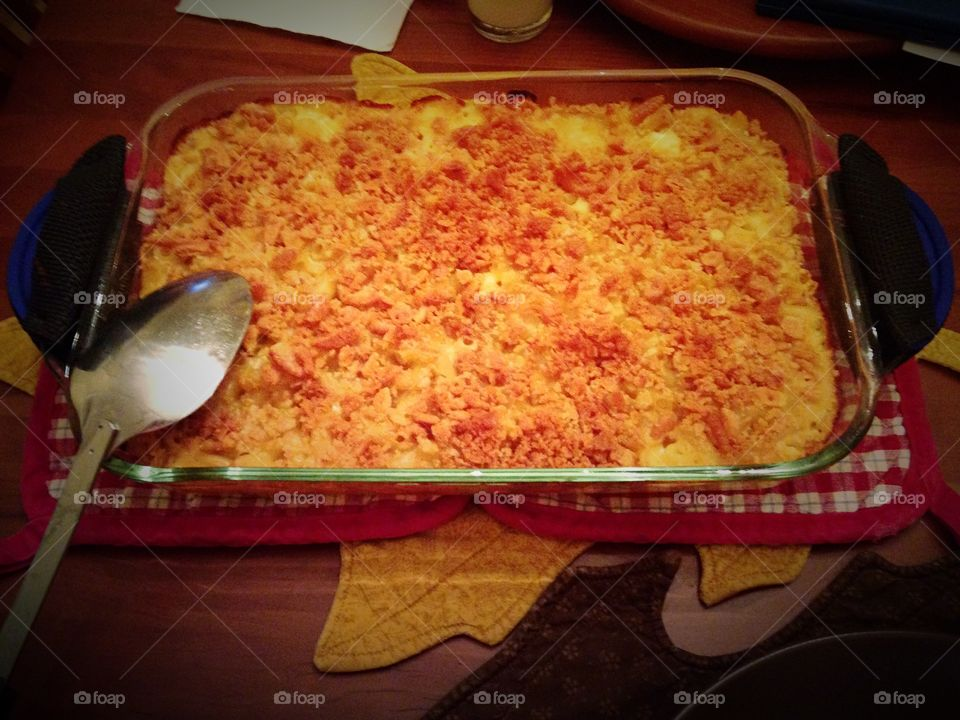 Who's hungry? . Baked macaroni and cheese for dinner - yellow mission