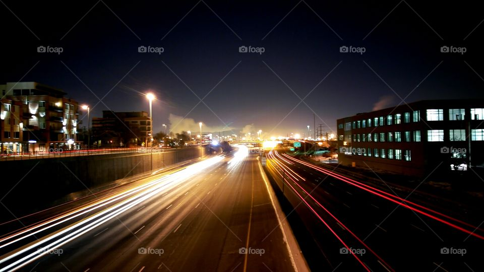 Light trail at night