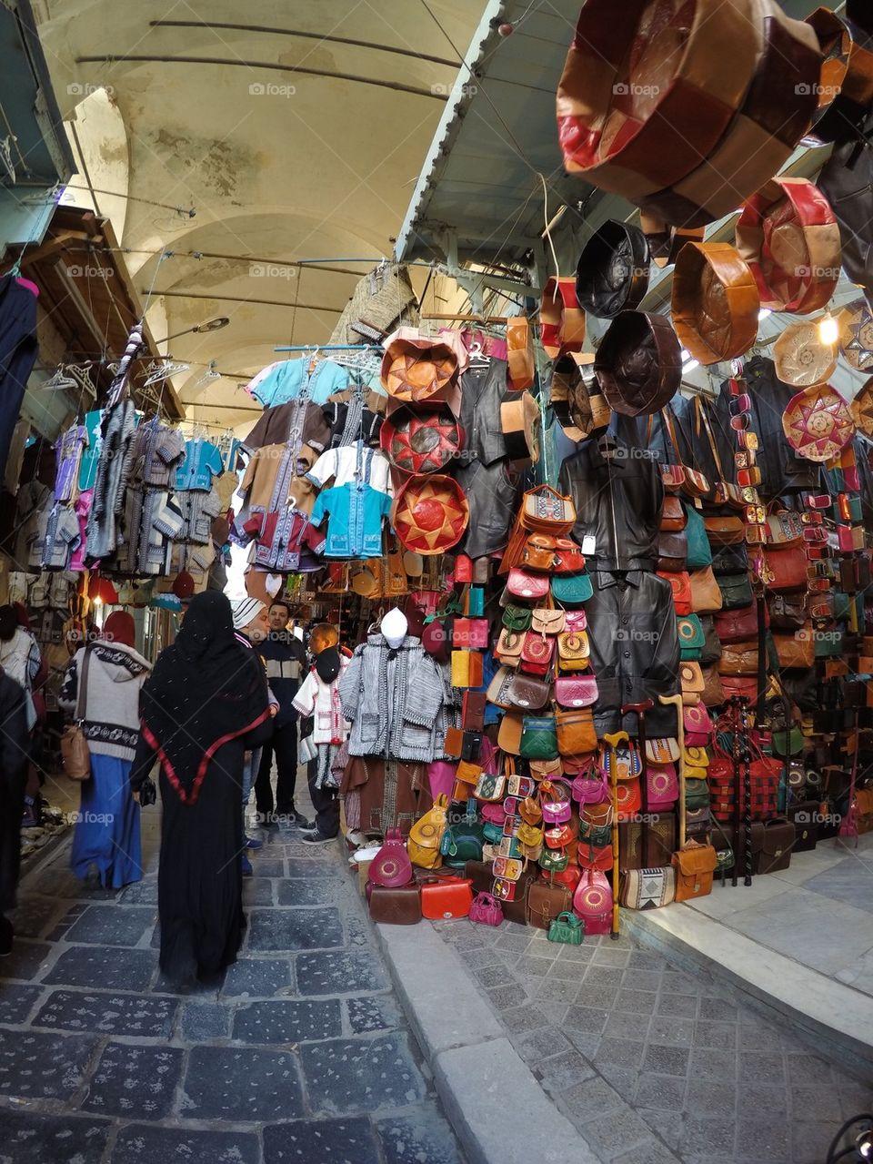 The medina market/ old town in Tunis, Tunisia