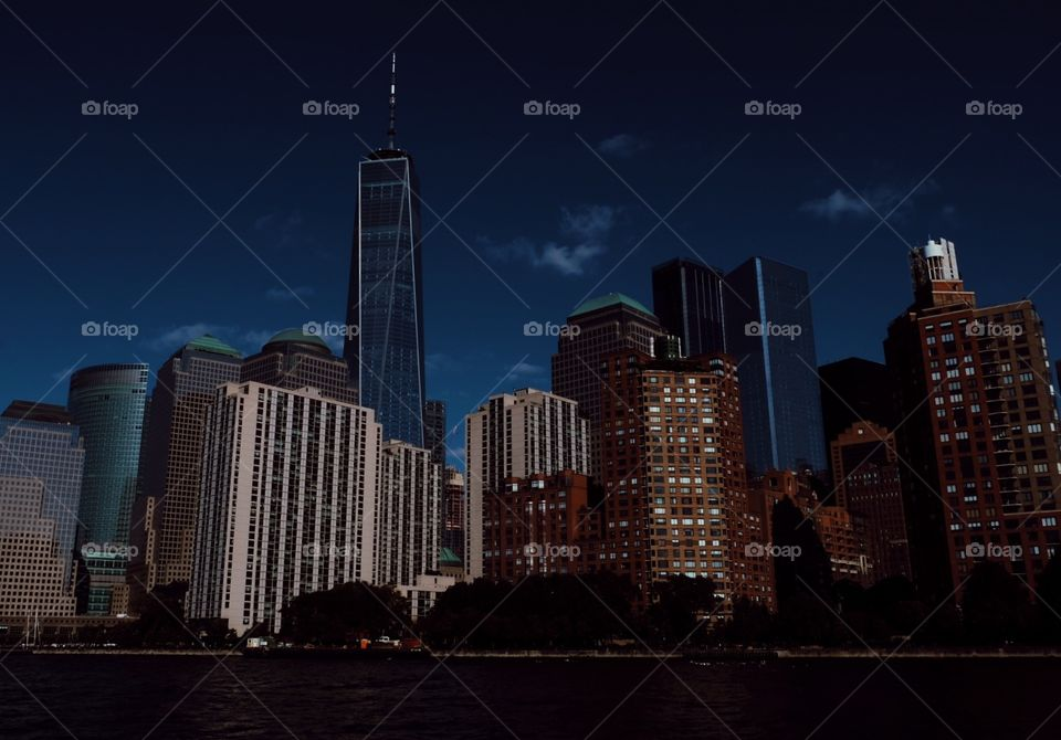 NYC At Nighttime, City In The Dark, Skyscrapers In New York City, New York City Water Line, Nightfall In The City, Urban City Portrait