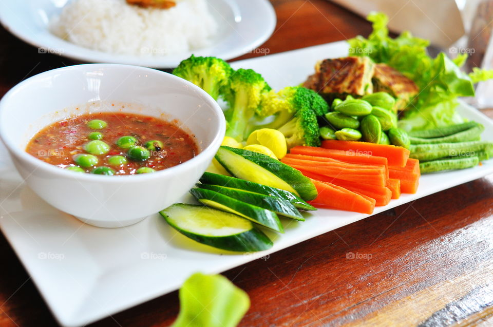 Thai vegetables with spicy sauces