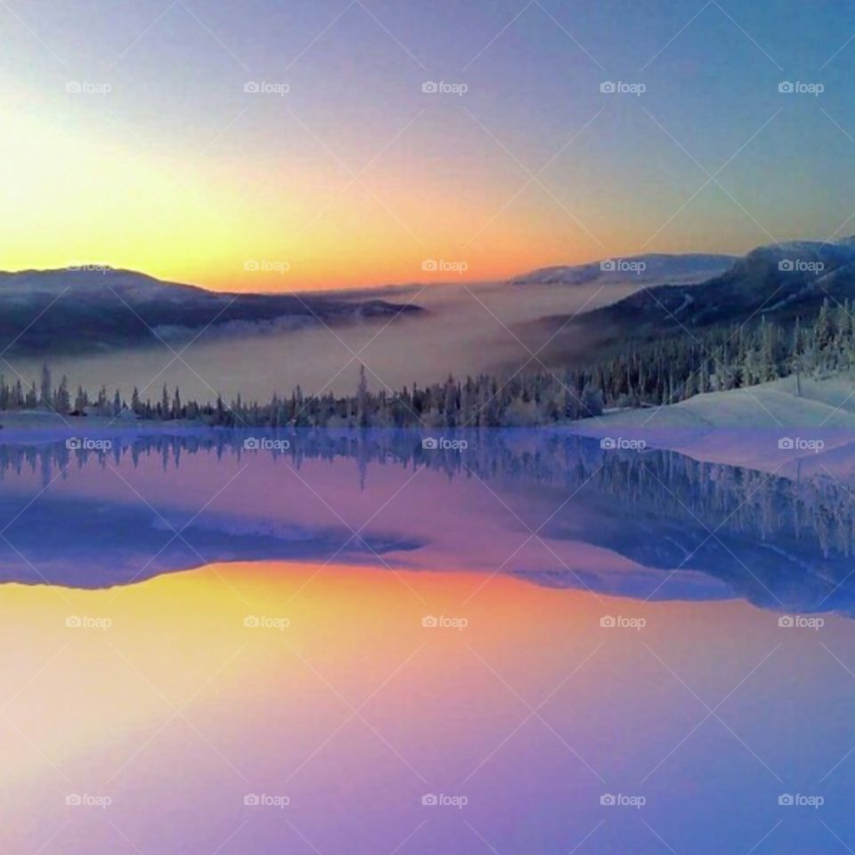 Reflection sunset in beautiful colors.