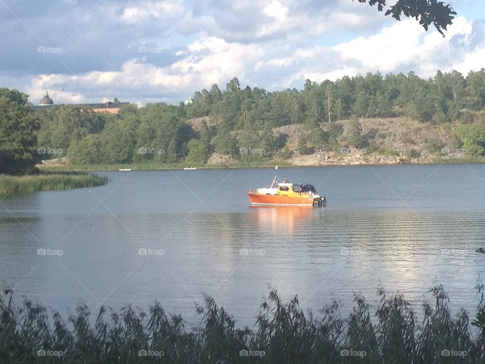 A boat in a lake