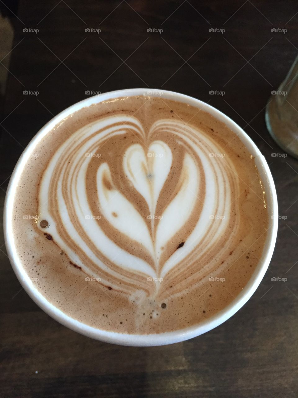 Mocha coffee with a heart swirl