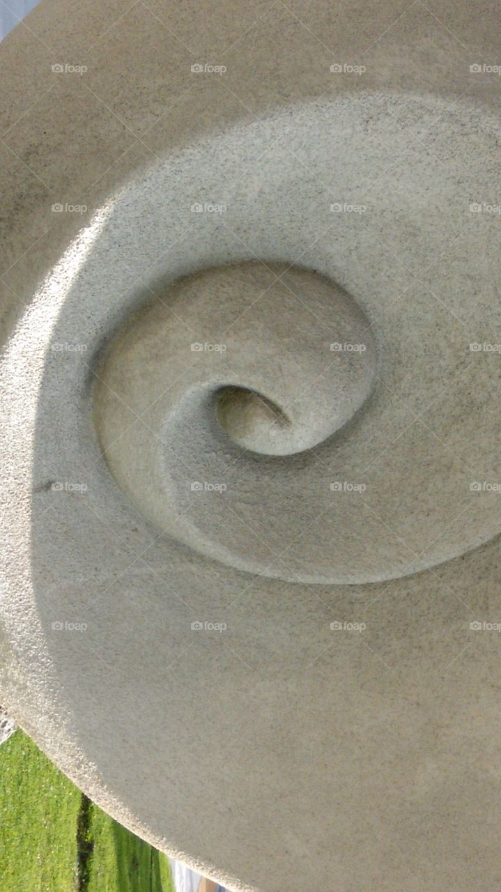 Detail of sculpture in concrete, Shelter Island, San Diego, CA.