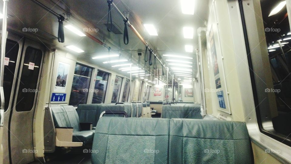 A rare empty BART train.