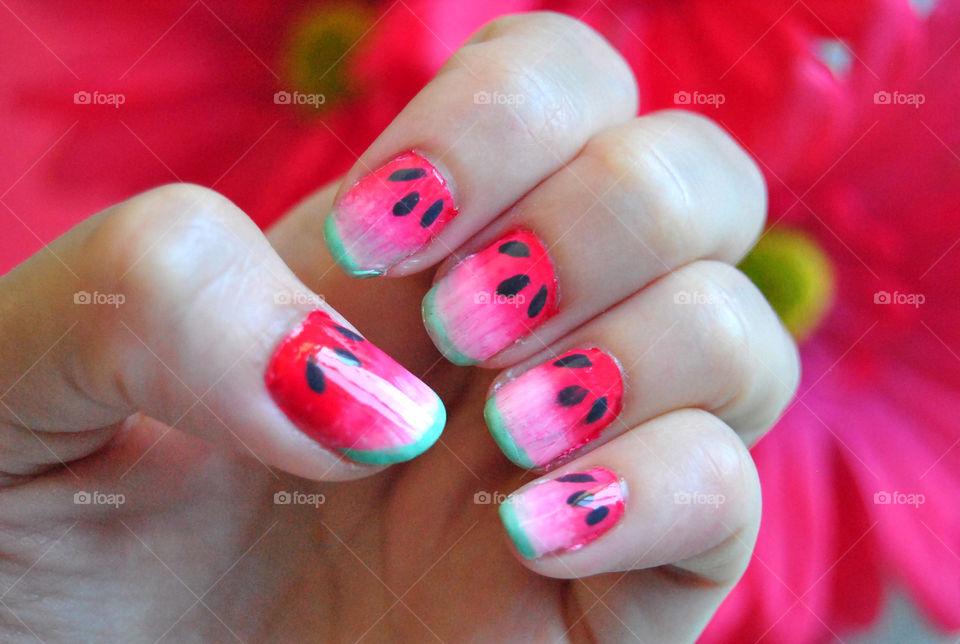 watermelon nail art, fruity nail polish