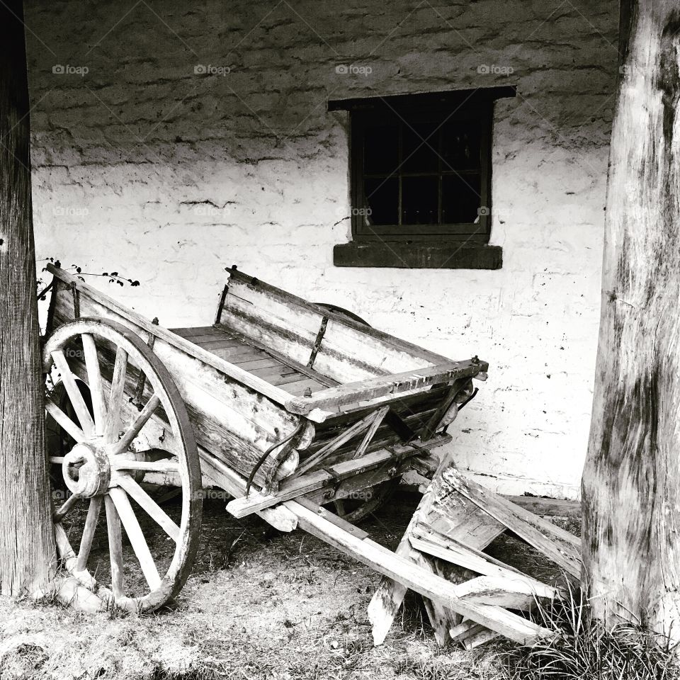 Old horse drawn farm wagon in black and white