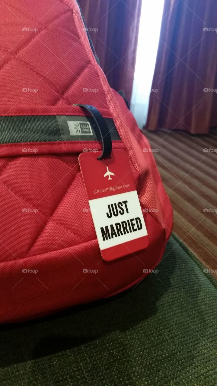 Just Married. Just Married Tags for Honeymoon