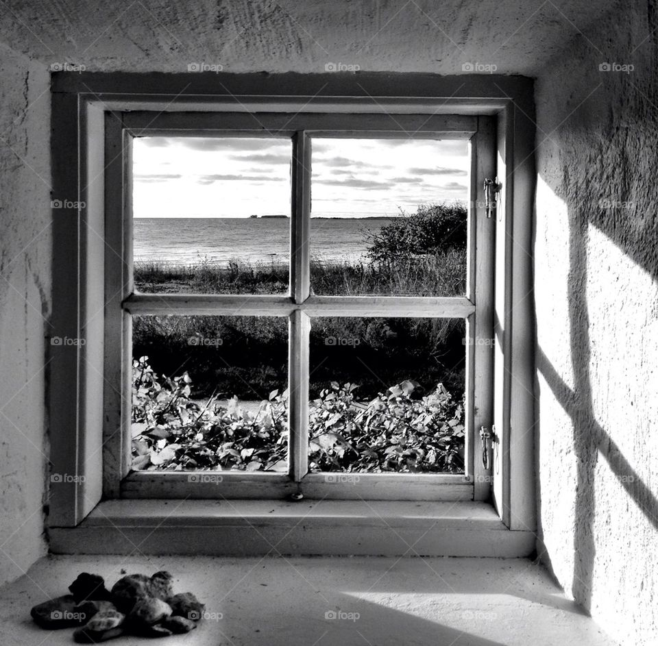 Scenic view of sea from window