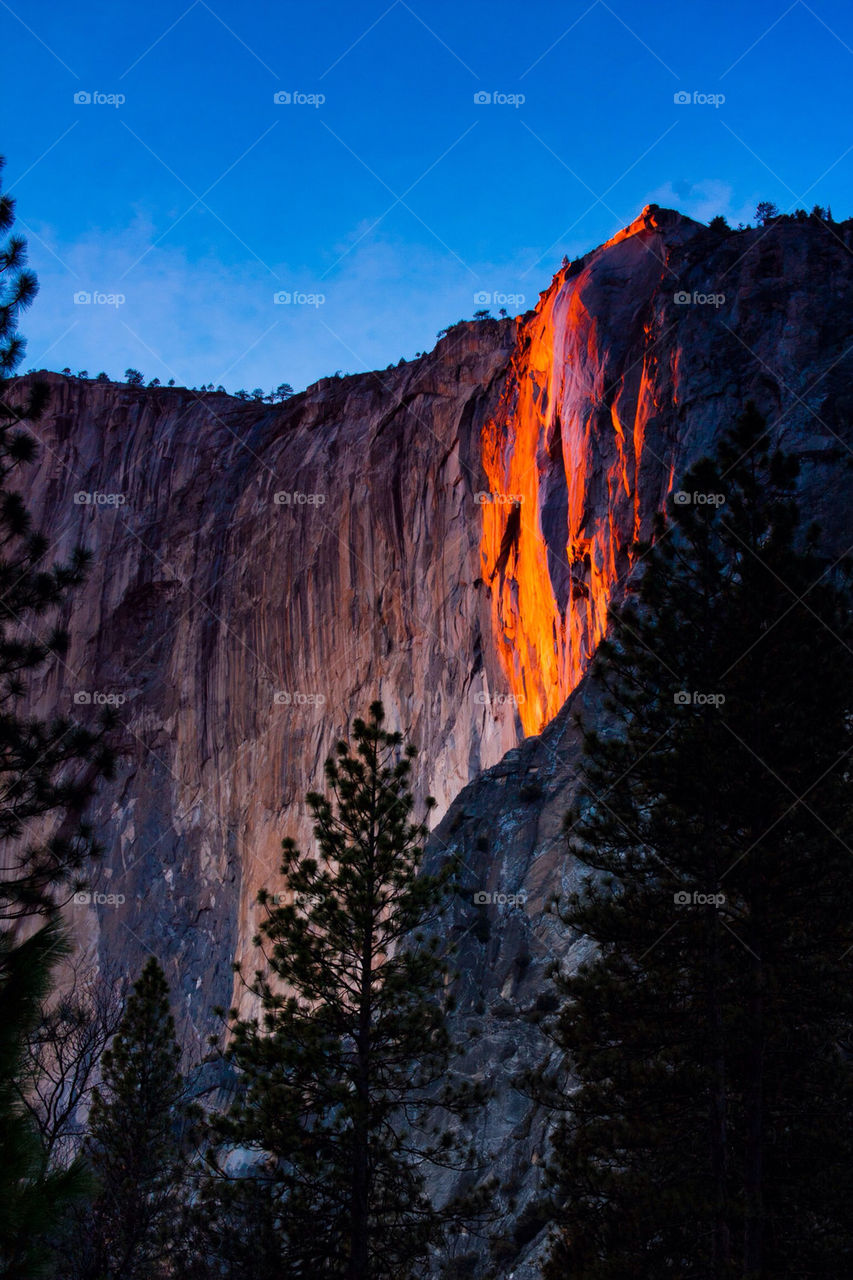 Amazing firefall in Yosemite national park