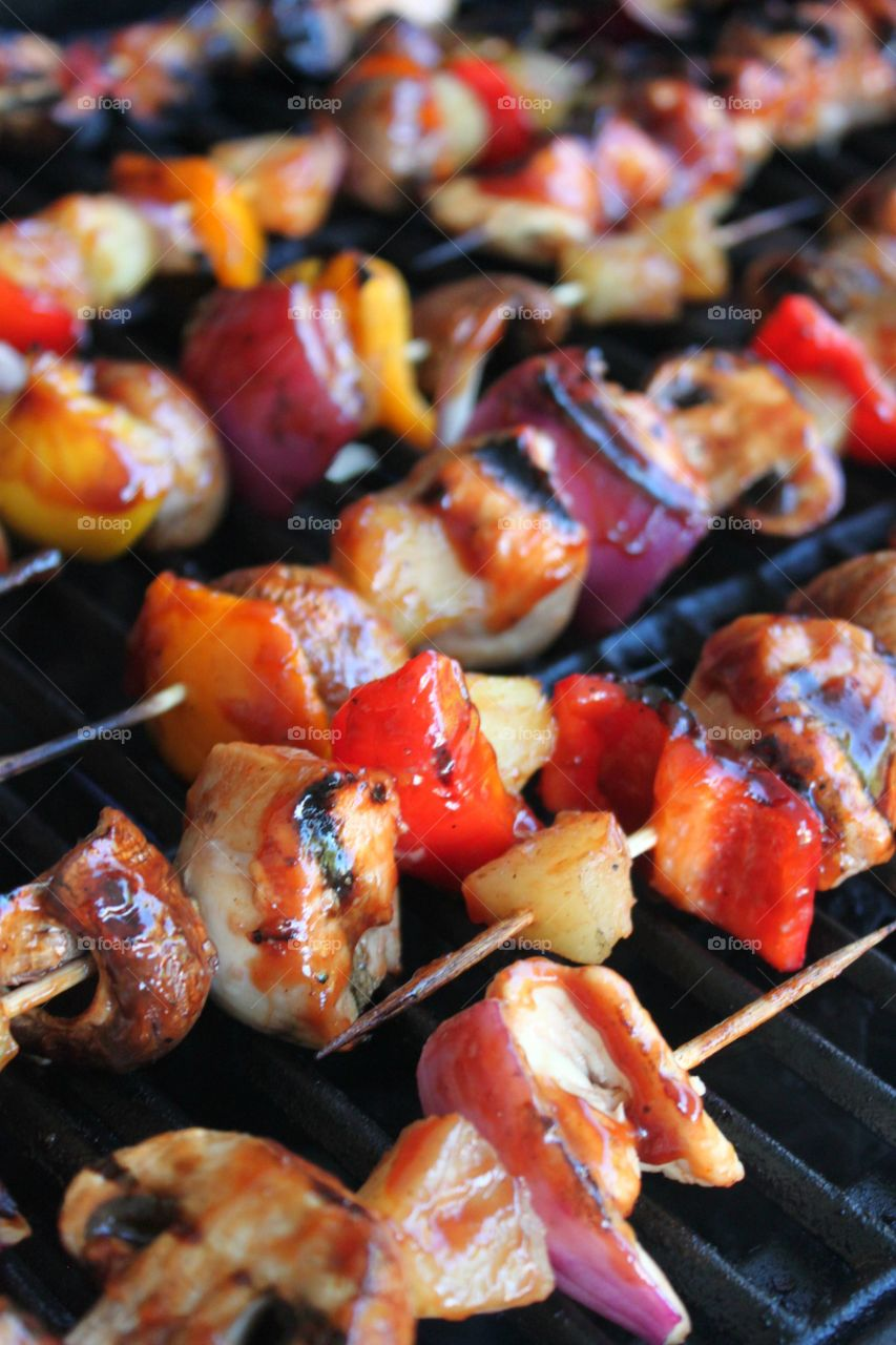 A kebab on the grill