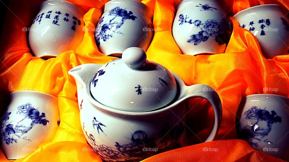 Close-up of chinese tea set