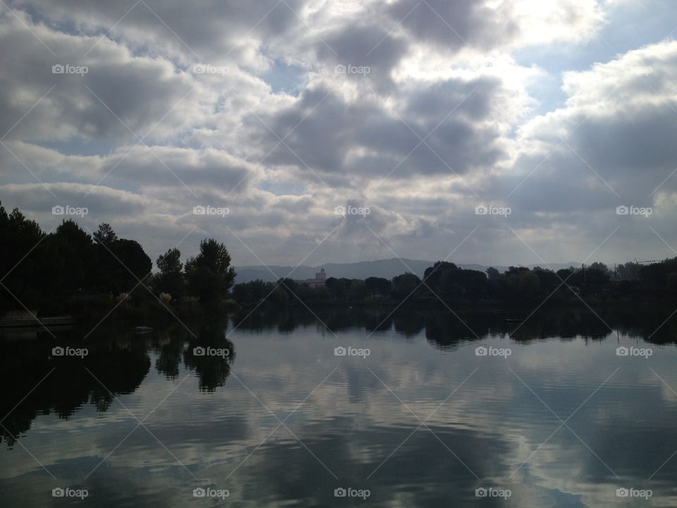 Lake in Pont Royal, Provence. Reflections on the lake in Provence