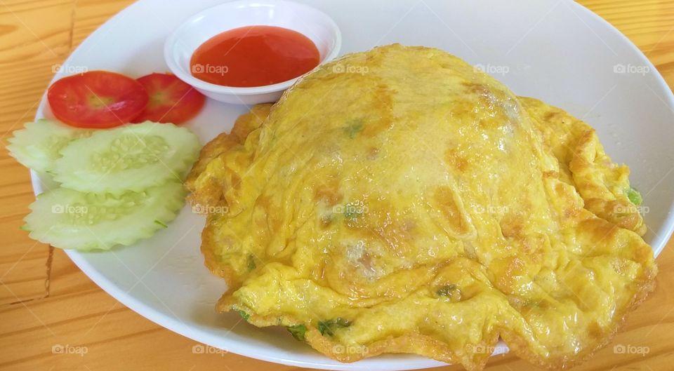 omelet on rice. egg food.