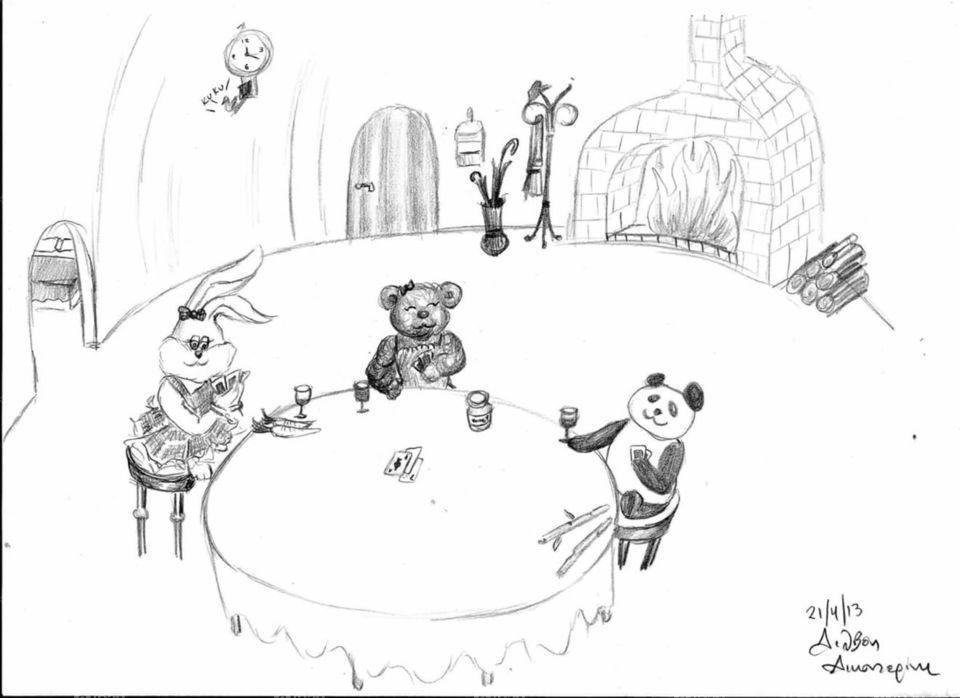 drawing - bunny bear panda
