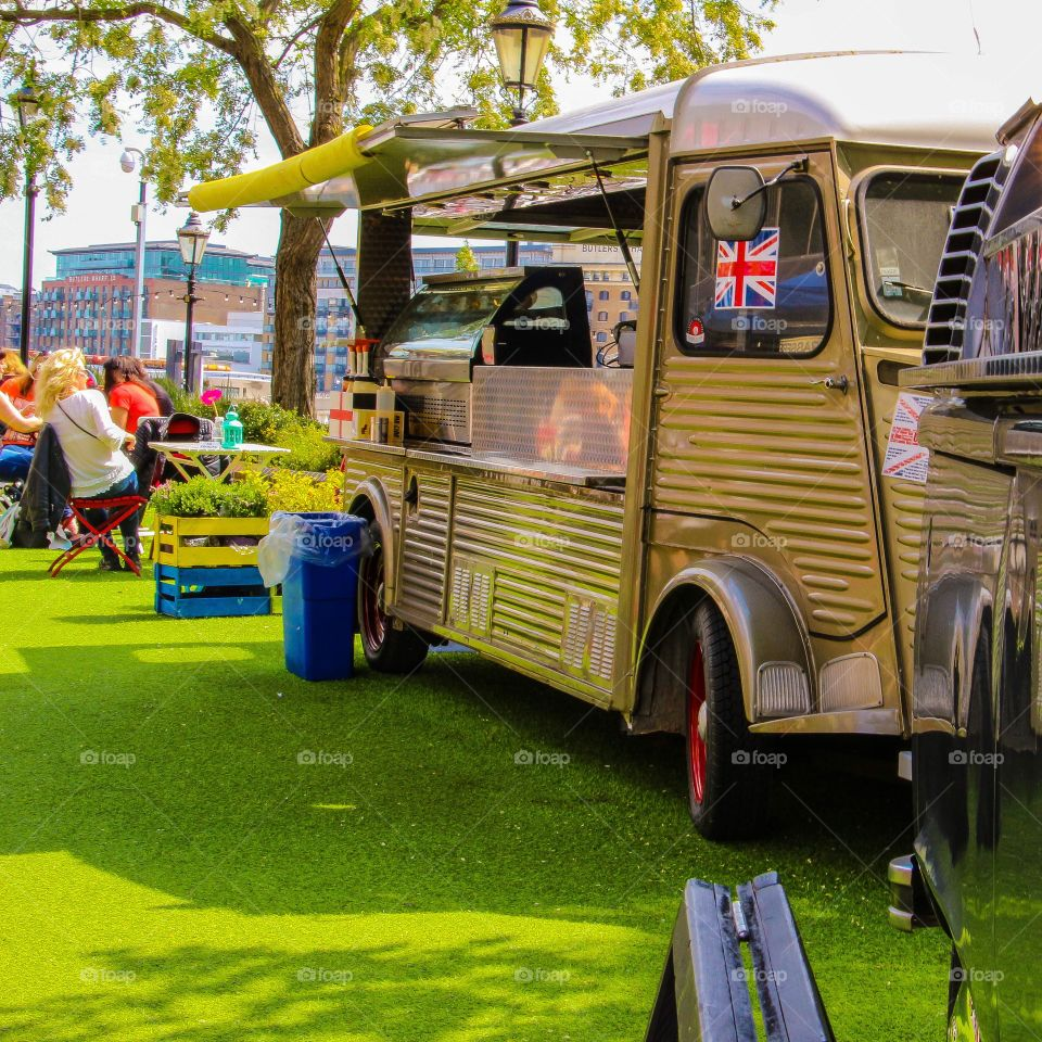 Food truck in London on a beautiful weather