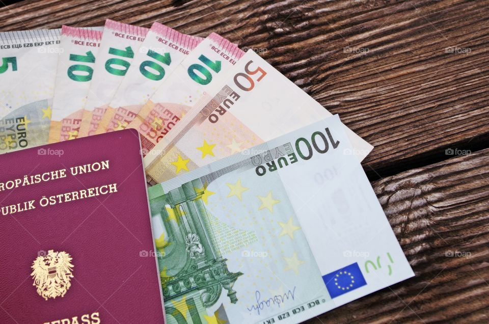 Euro currency with passport