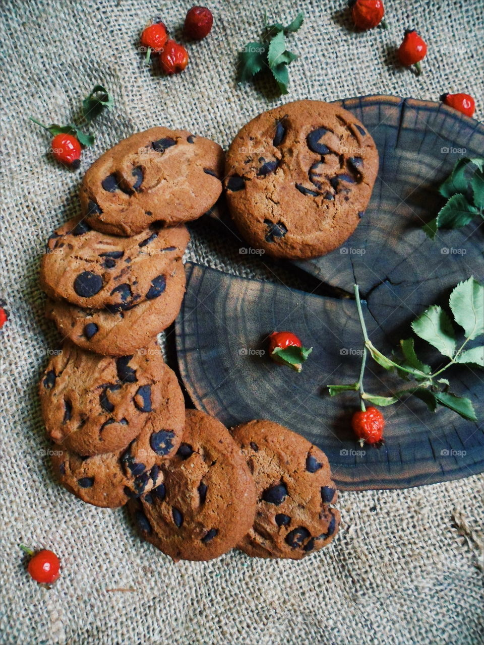 oatmeal cookies with chunks of chocolate and rose hips, dessert