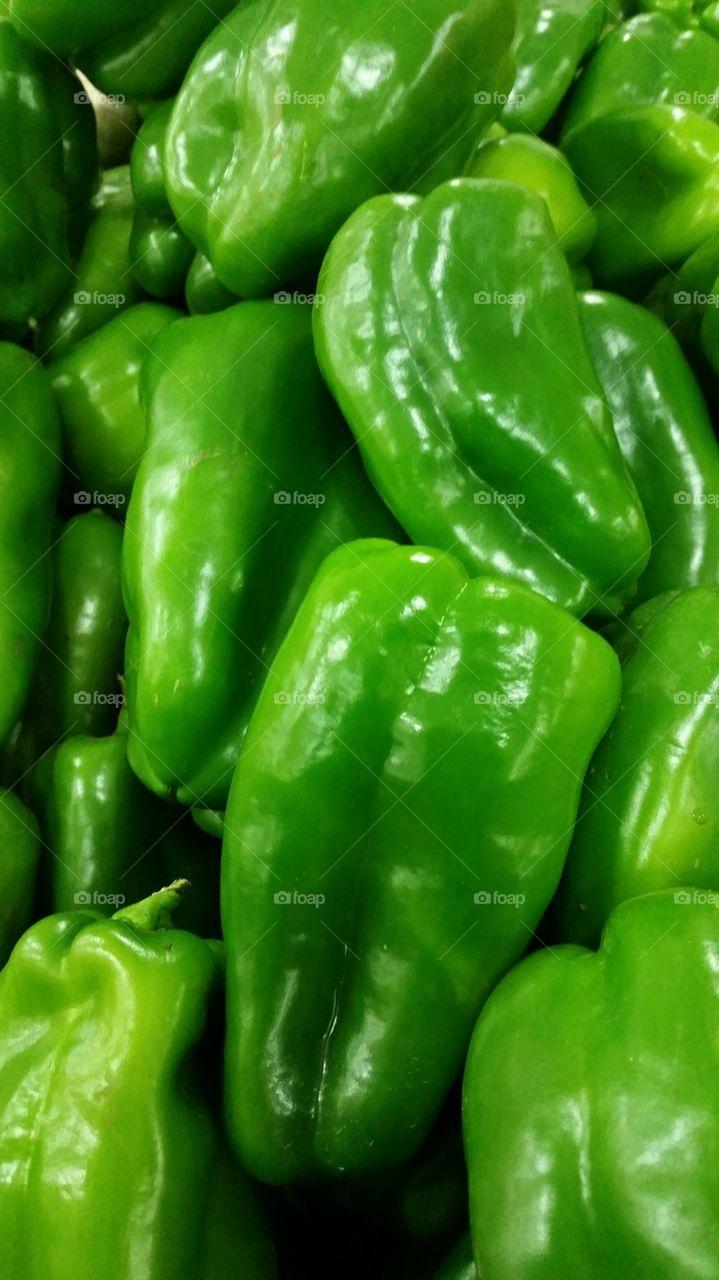 Full frame of bell peppers