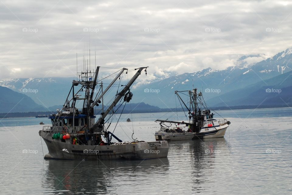 Fishing vessels waiting near Valdez for the announcement that fishing season is open