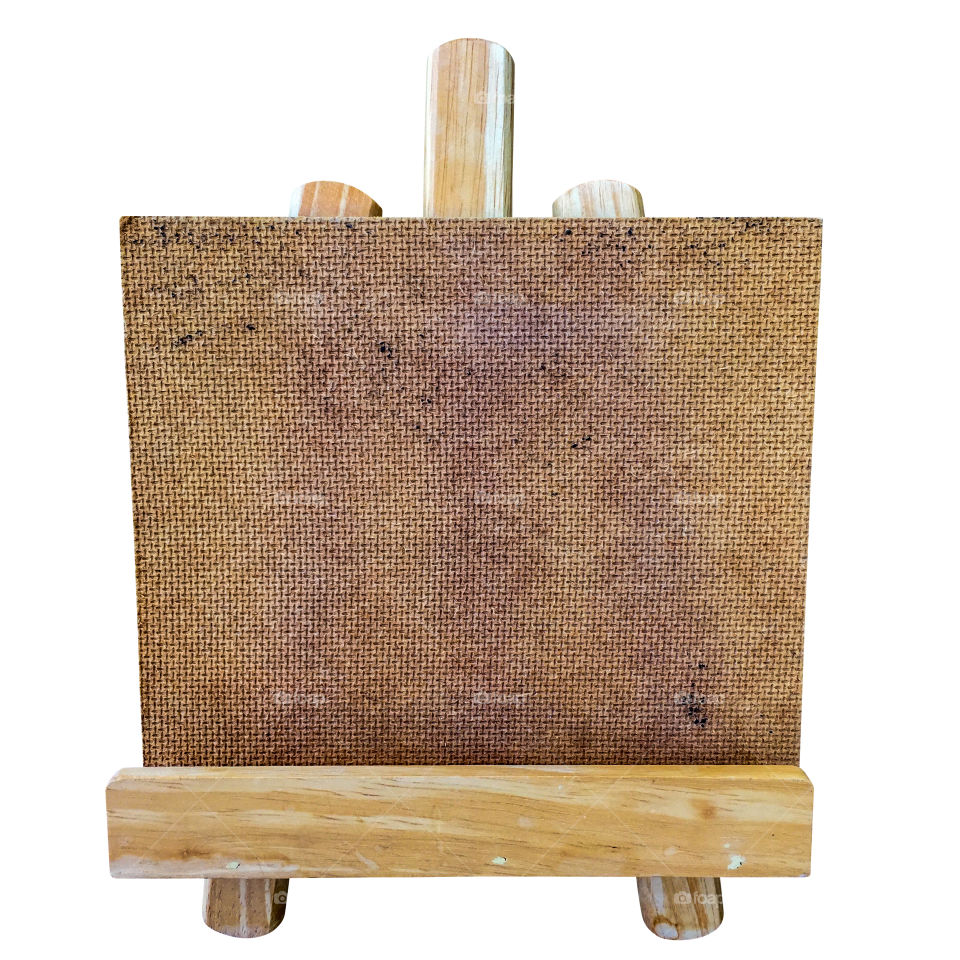 Drawing board on wood easel isolated on white background with clipping path.