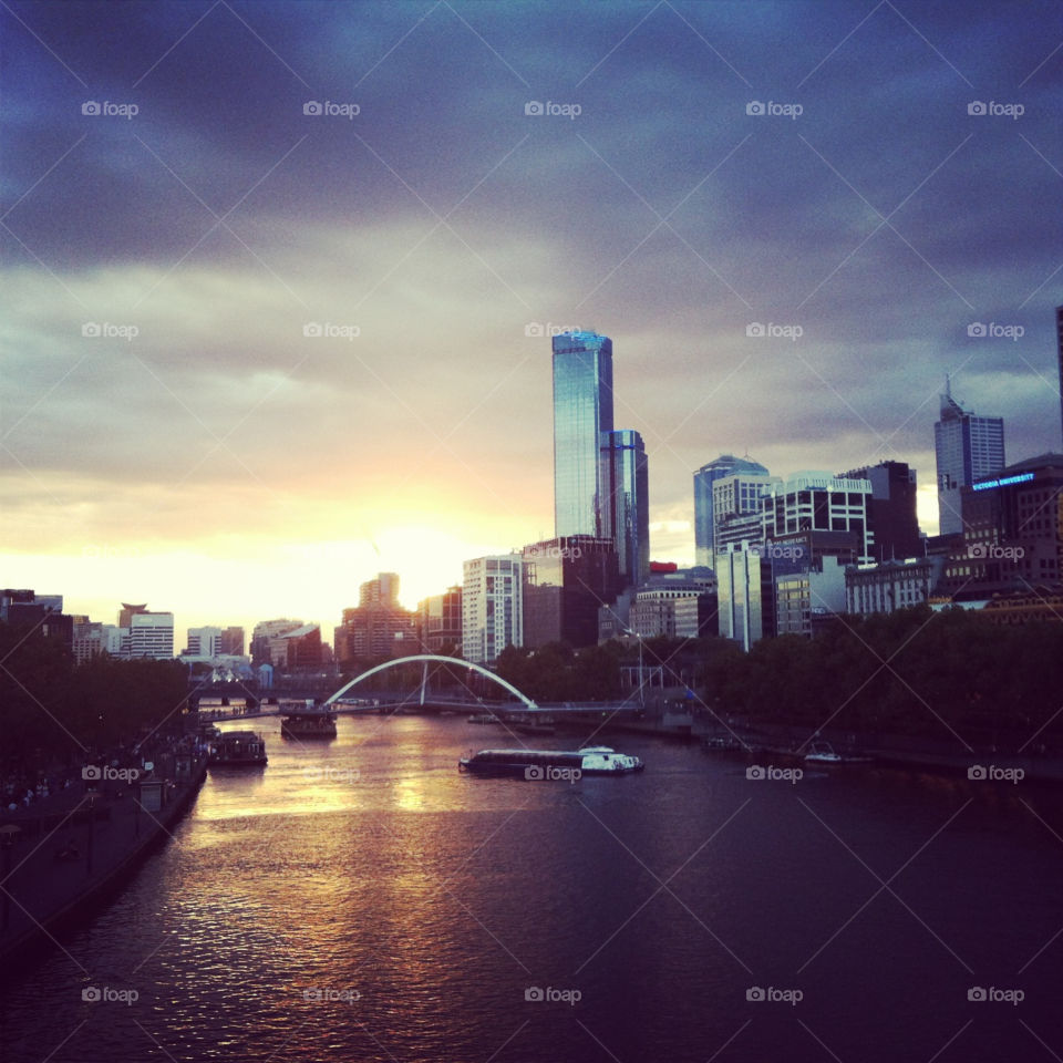 The breathtaking Yarra River at sunset at the Melbourne Moomba