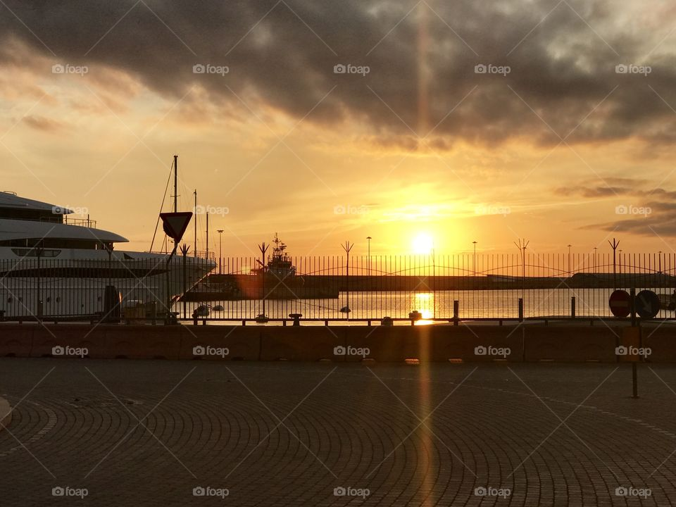 Sunset in the Port of Civitavecchia, this quaint seaside port, was a great way to enter Italy!!