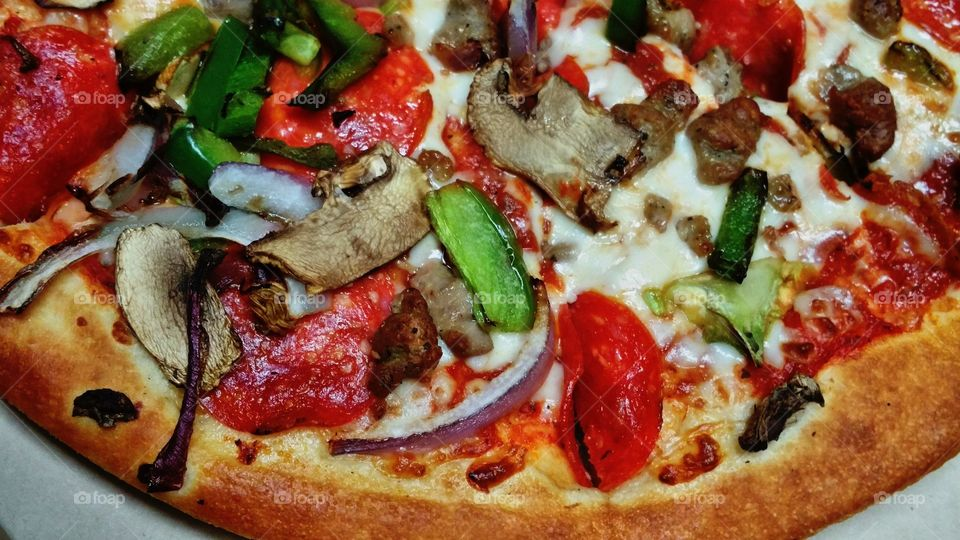 Close-up of a pizza