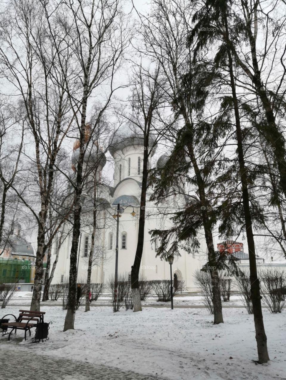 церковь зимой в аллее